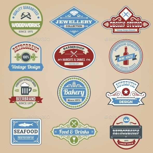 GraphicRiver Retro Emblems Colored 10020522
