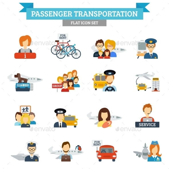 GraphicRiver Passenger Transportation Icon Flat 10020753
