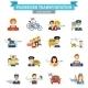 Passenger Transportation Icon Flat - GraphicRiver Item for Sale