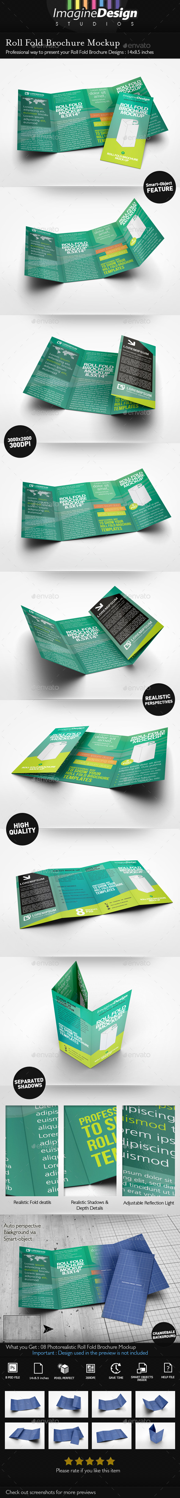 GraphicRiver Roll Fold Brochure Mockup 10020772
