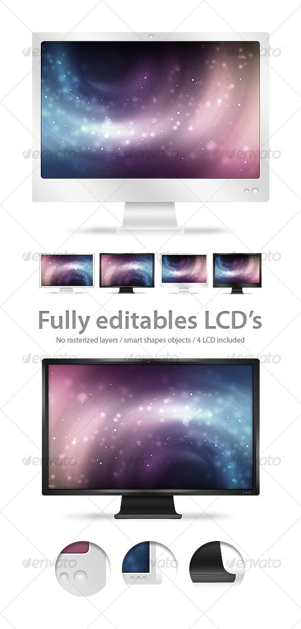 LCD / Monitors Fully Editables - Illustrations Graphics