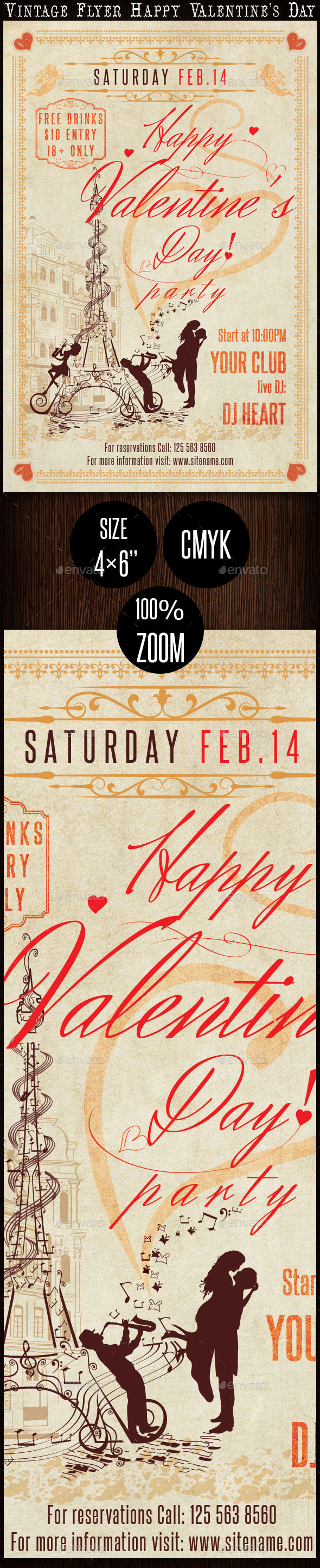 Vintage Flyer Happy Valentine s Day