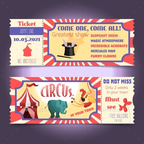 GraphicRiver Circus Retro Tickets 10021815