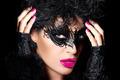 High Fashion Model in Creative Masquerade Eye Makeup - PhotoDune Item for Sale