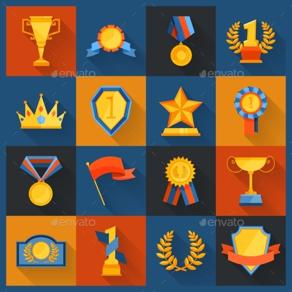 GraphicRiver Award Icons Set Flat 10021847