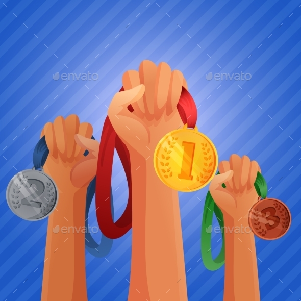 GraphicRiver Winners Hands Holding Medals 10021860