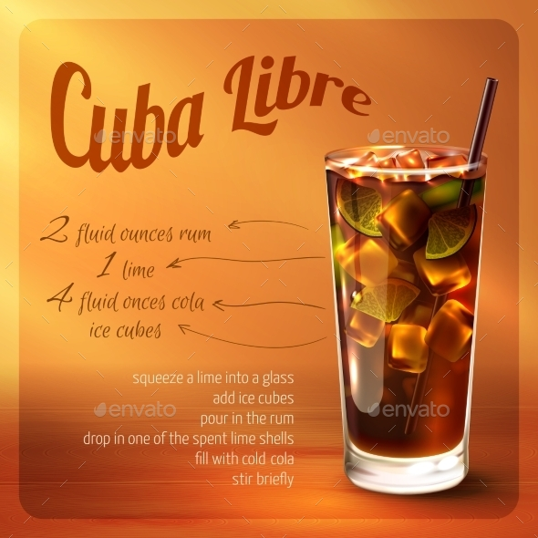 GraphicRiver Cuba Libre Cocktail Recipe 10021868