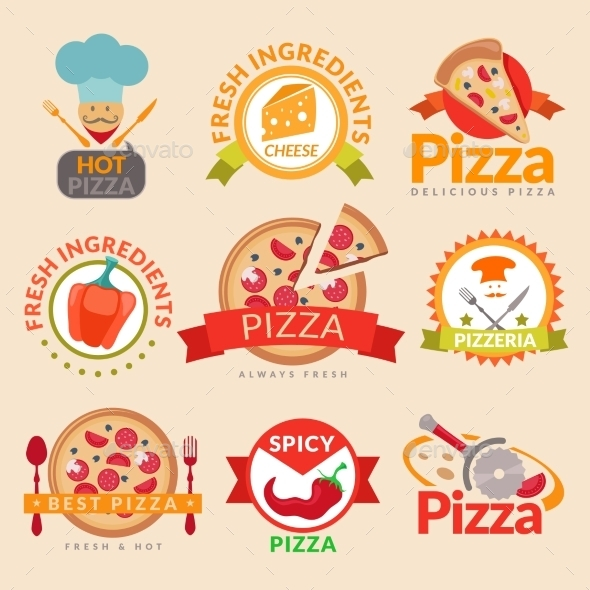 GraphicRiver Pizzeria Labels Set 10021871