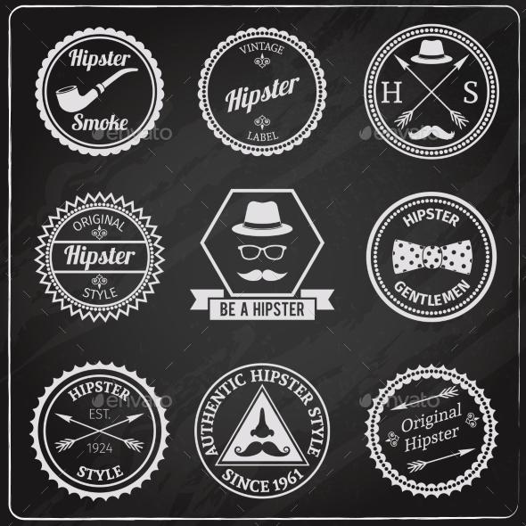 GraphicRiver Hipster Labels Chalkboard 10021877