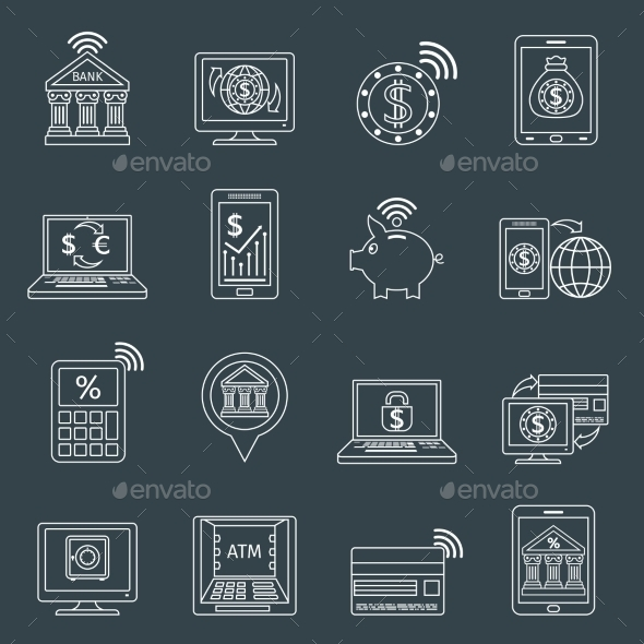 GraphicRiver Mobile Banking Icons Outline 10021886