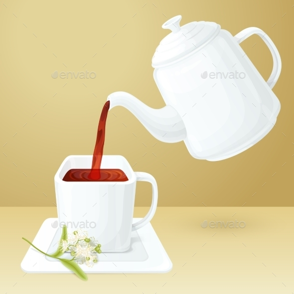 GraphicRiver Tea Cup And Pot 10021901