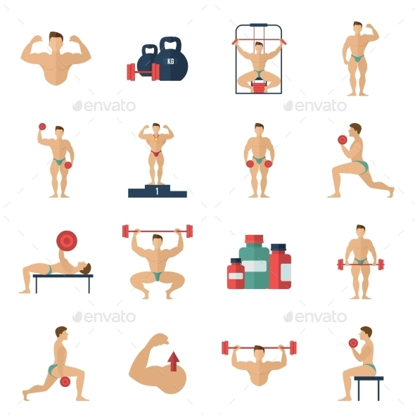 GraphicRiver Bodybuilding Icons Set 10021907