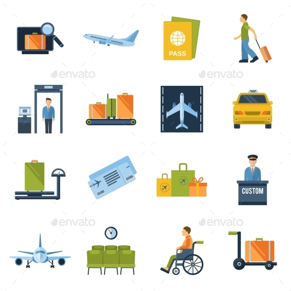 GraphicRiver Airport Icons Flat 10021909