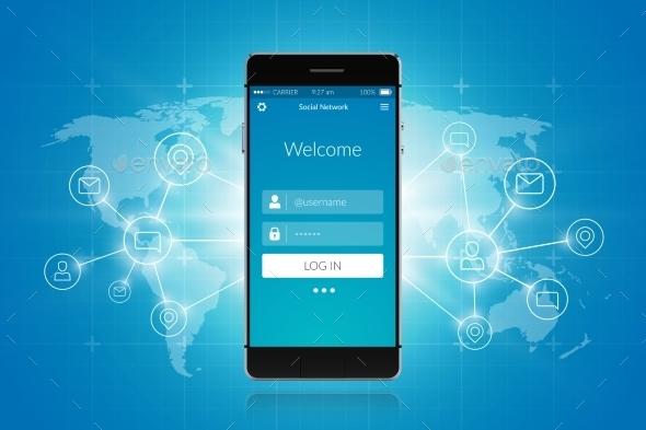GraphicRiver Smartphone Social Network 10022073