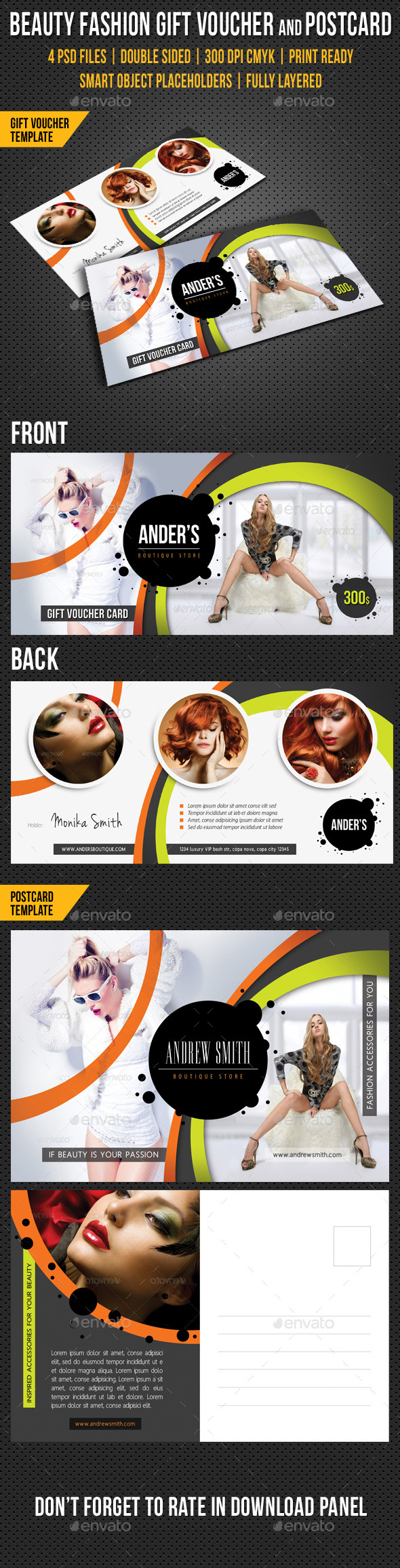 GraphicRiver Beauty Fashion Gift Voucher and Postcard Templates 10022084