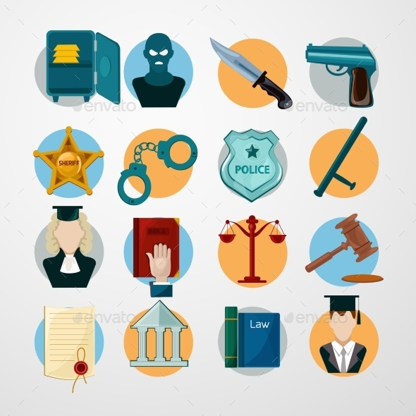 GraphicRiver Law Icons Flat 10022088