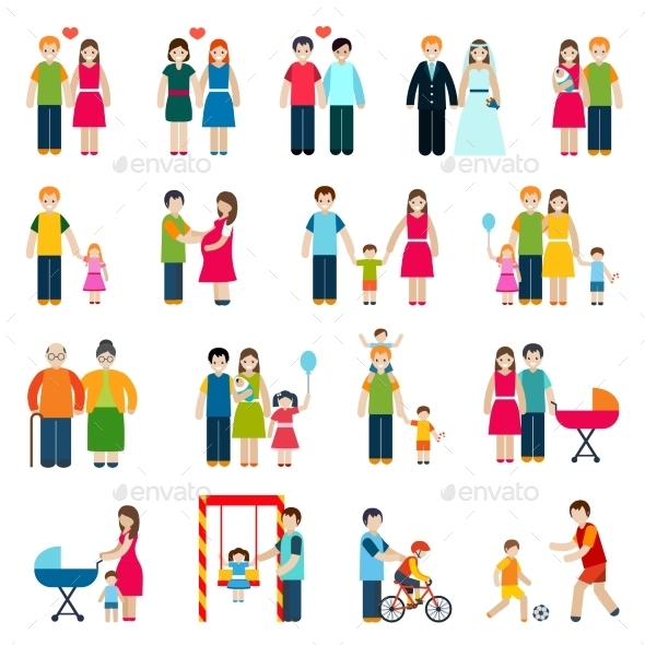 GraphicRiver Family Figures Icons 10022090