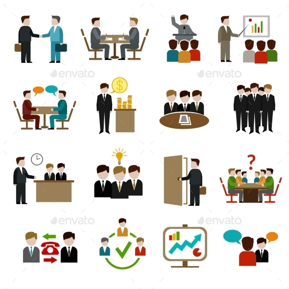 GraphicRiver Meeting Icons Set 10022100