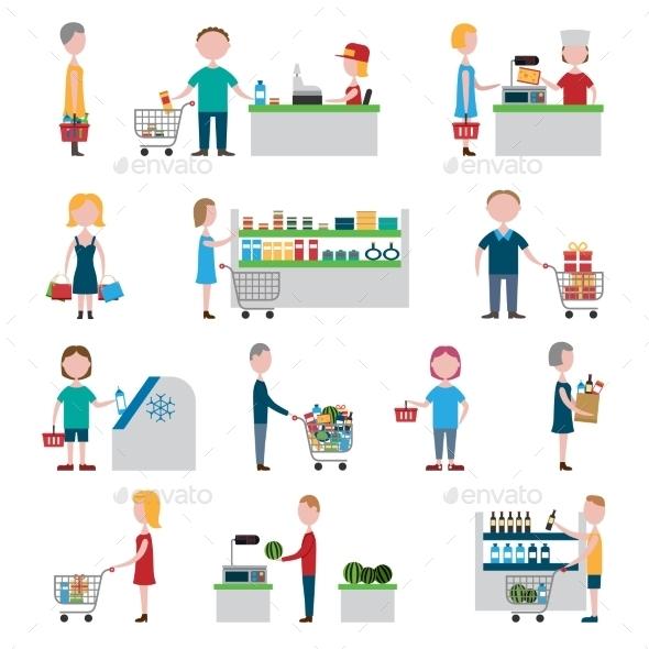 GraphicRiver Supermarket People Set 10022115