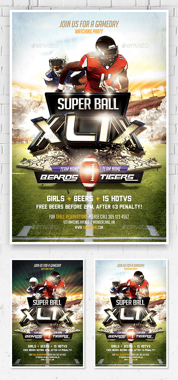 GraphicRiver Super Ball Football Flyer Template 10022166