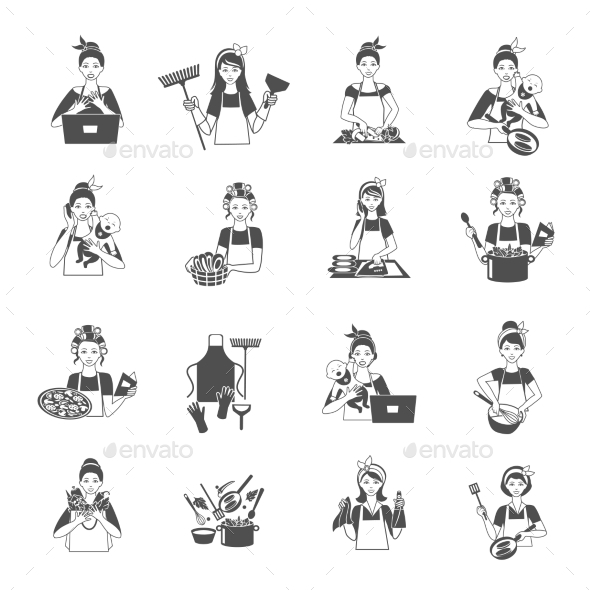 GraphicRiver Housewife Black Set 10022175