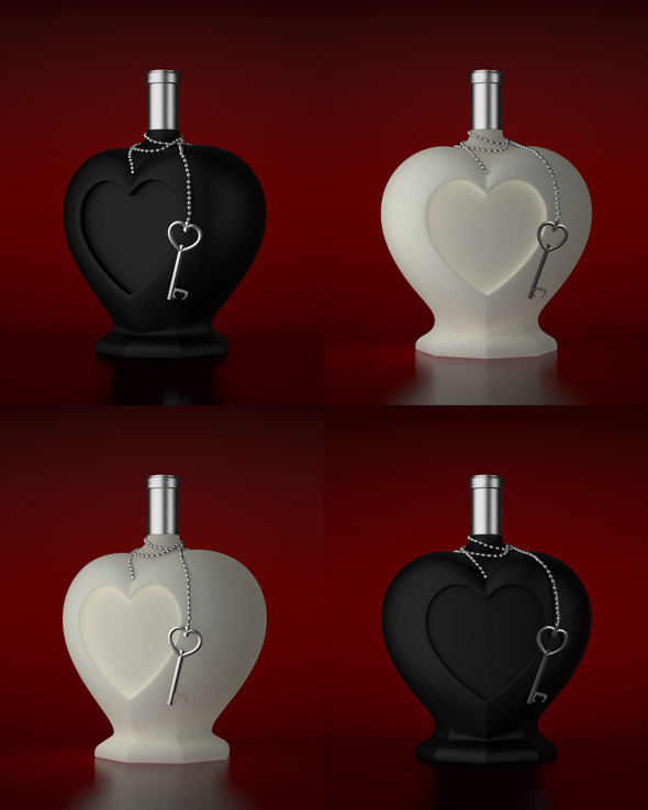 3DOcean Heart Shaped Bottle 10022272