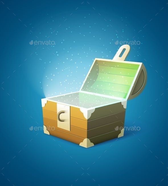 GraphicRiver Magic Fairy-tale Wooden Trunk Empty with Lights 10022291