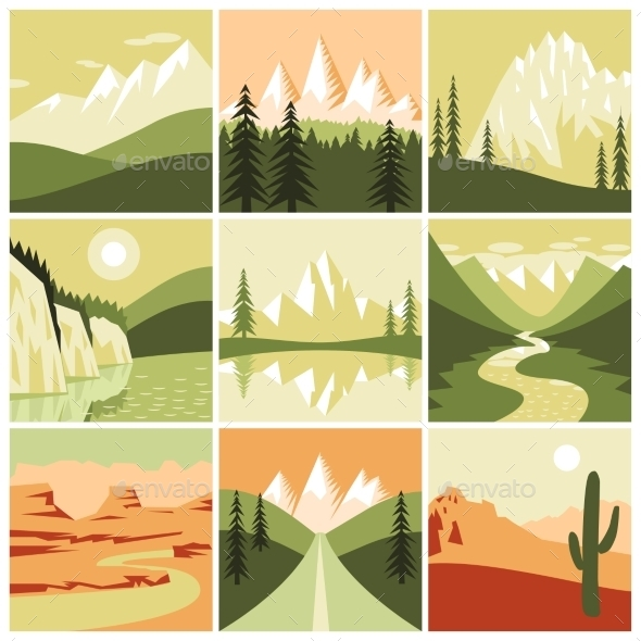 GraphicRiver Nature Mountain Icons 10022370
