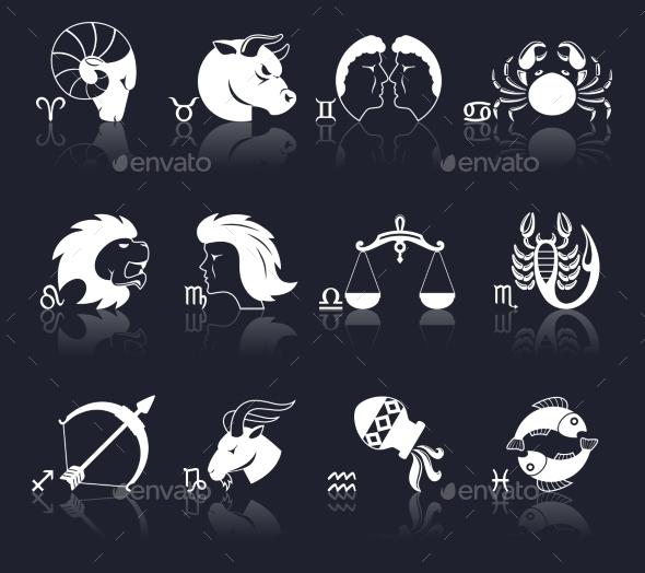 GraphicRiver Zodiac Icons White 10022383