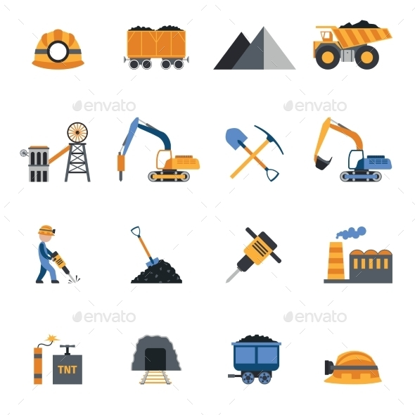 GraphicRiver Coal Industry Icons 10022387
