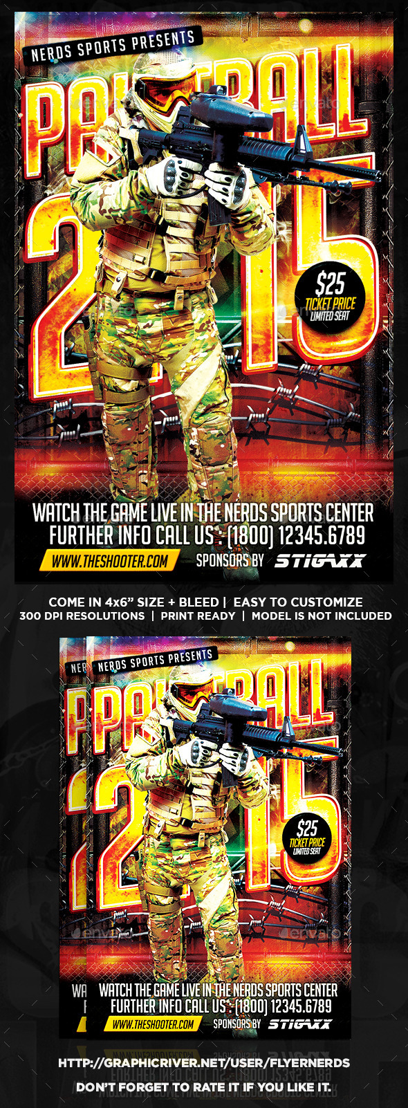 GraphicRiver Paintball 2K15 Competition Sports Flyer 10022577