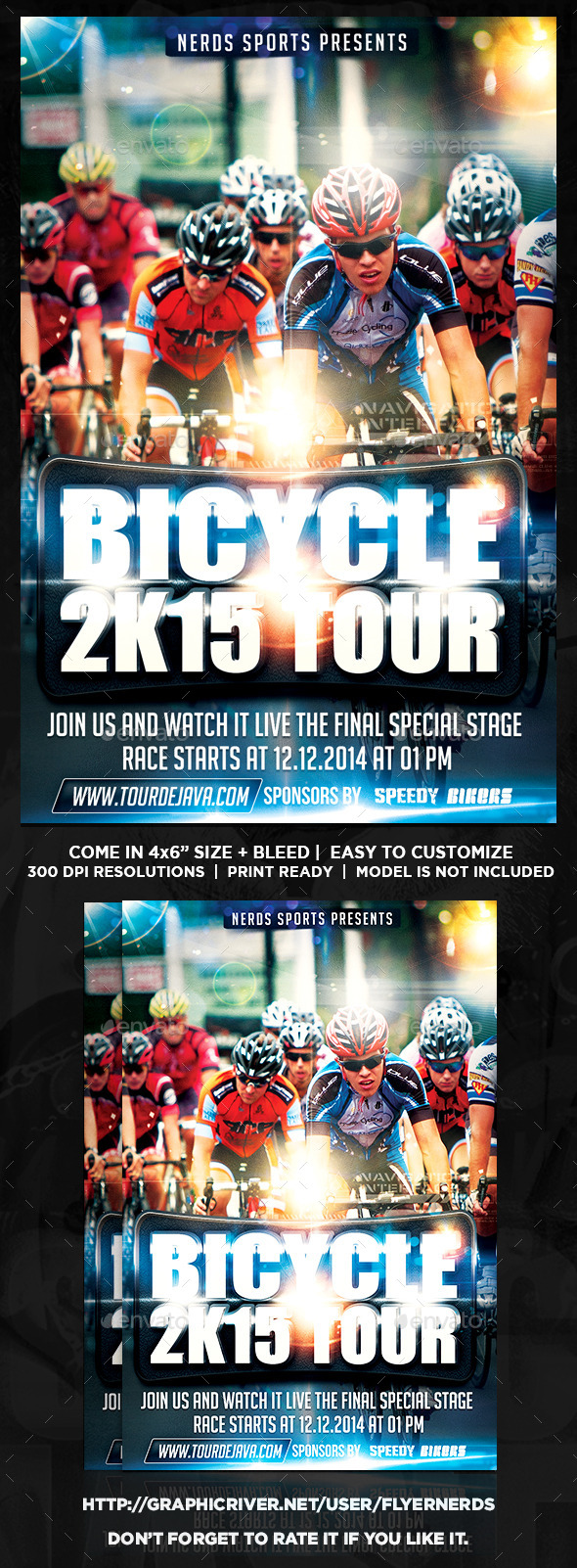 GraphicRiver Bicycle 2K15 Tour Sports Flyer 10022633