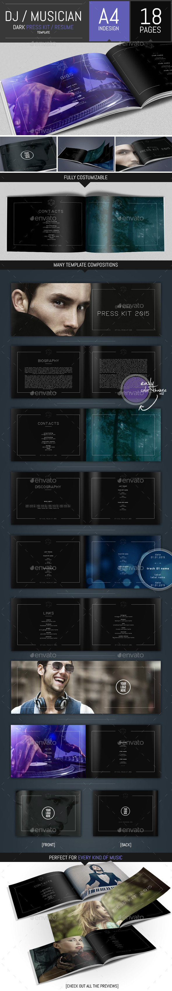 GraphicRiver Dj and Musician Dark Press Kit Resume Template 10022884
