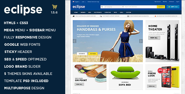 ThemeForest Eclipse Responsive Multipurpose OpenCart Theme 10023133