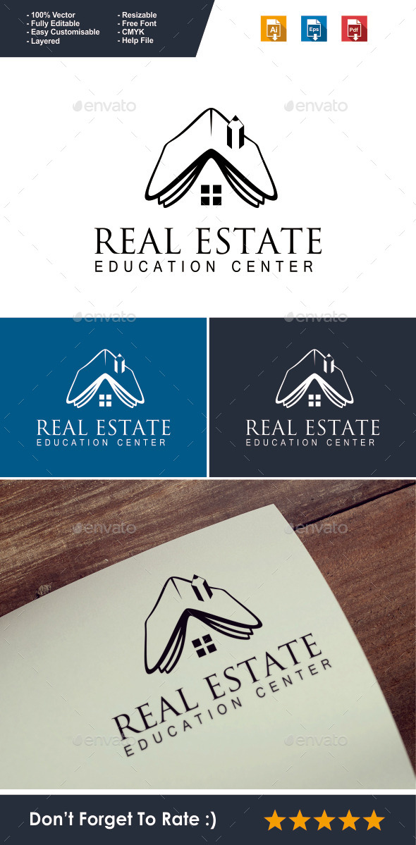 GraphicRiver Real Estate Education Logo 10023159