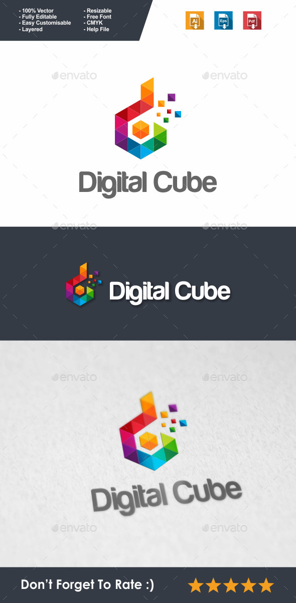 GraphicRiver Digital Cube Logo 10023179