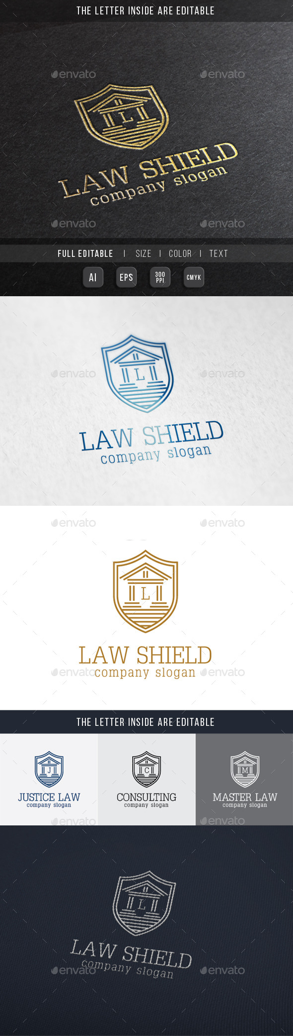 GraphicRiver Law Shield Justice Building Logo Template 10023181