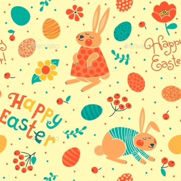 GraphicRiver Happy Easter Seamless Pattern 10023573
