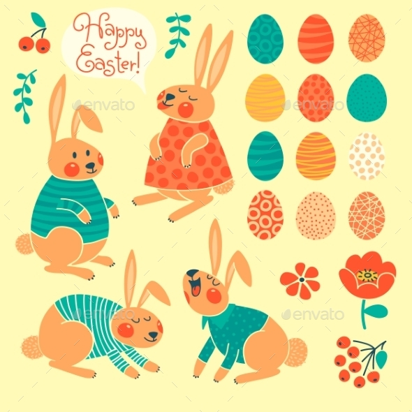GraphicRiver Set of Elements for Happy Easter Design 10023600