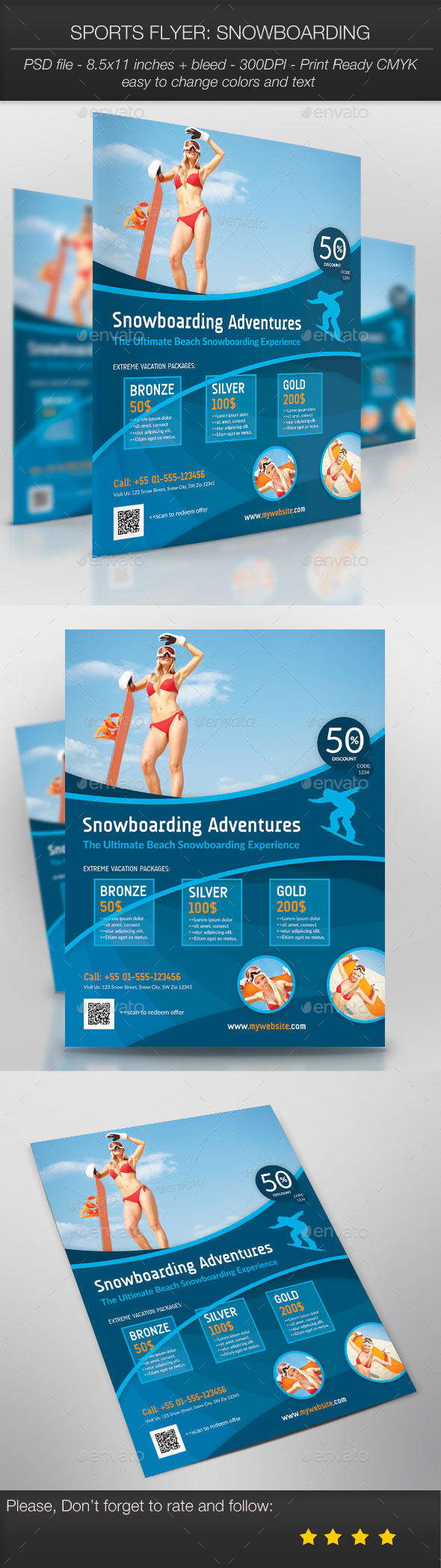 GraphicRiver Sports Flyer Snowboarding 10023690