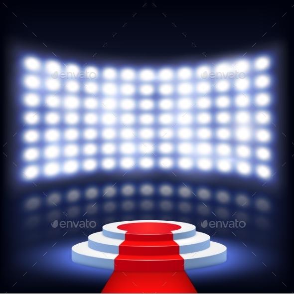 GraphicRiver Illuminated Podium for Ceremony with Red Carpet 10024036