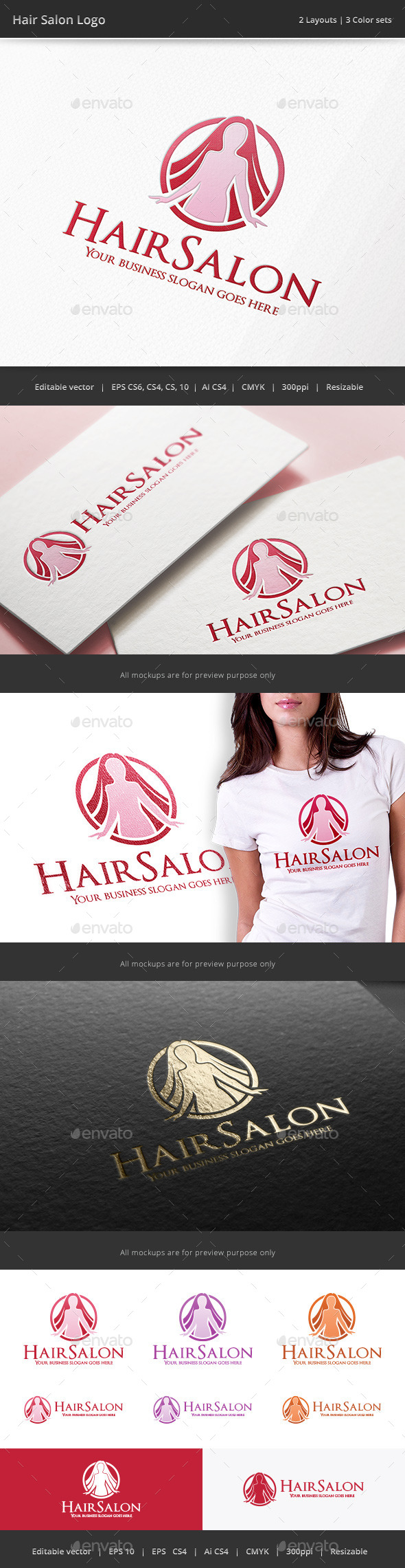 GraphicRiver Hair Salon Woman Logo 10024419