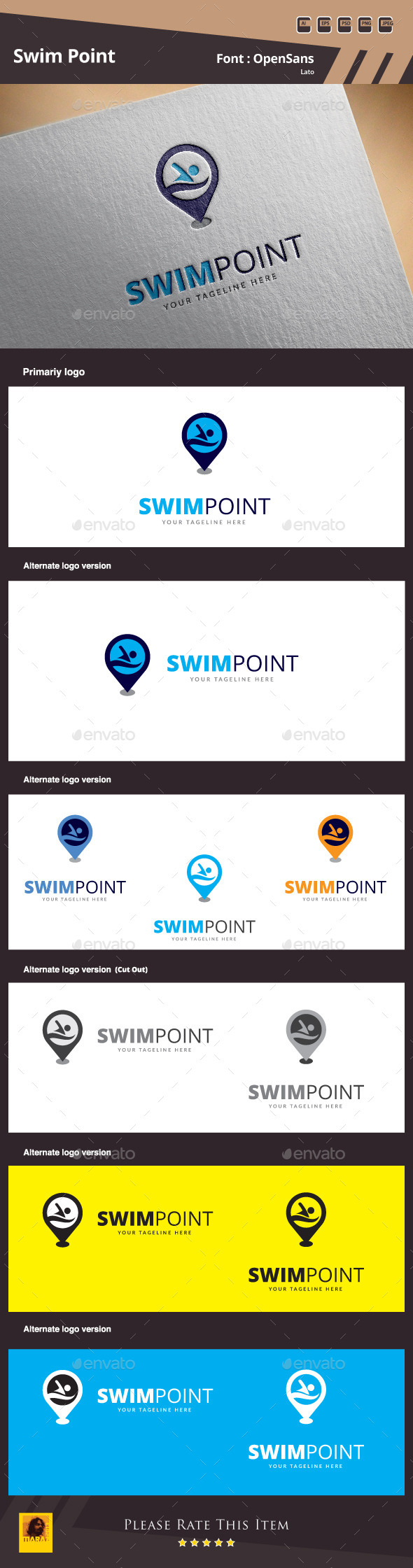 GraphicRiver Swim Point Logo Template 10024523