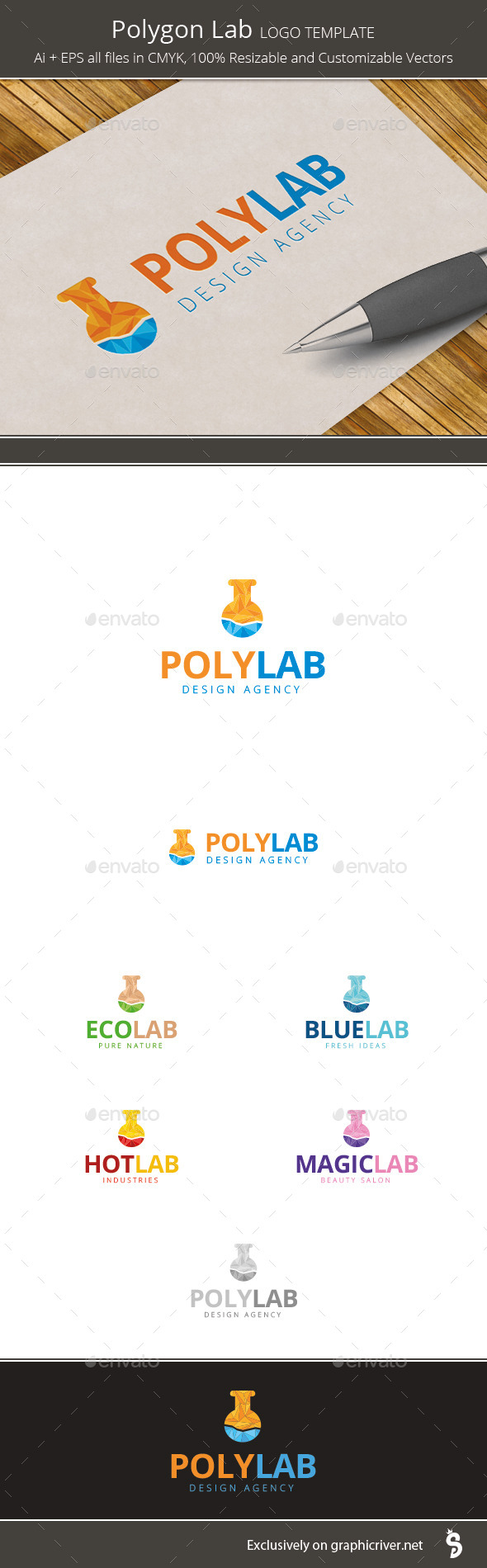 GraphicRiver Polygon Lab Logo Template 10024553