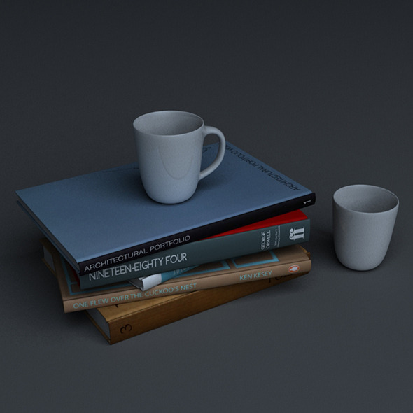 3DOcean Stack of books with two mugs 9953304