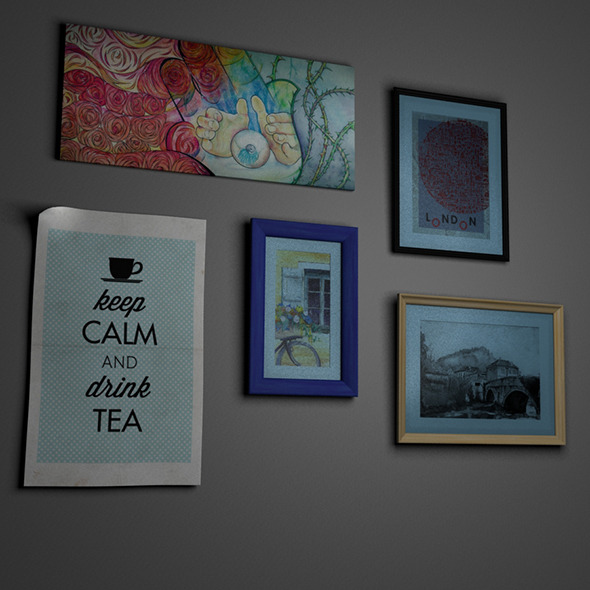 Picture Frames and Paintings Set - 3DOcean Item for Sale