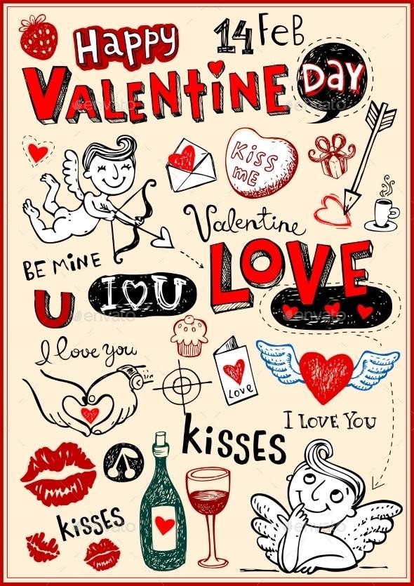 GraphicRiver Valentine Doodles 10024813