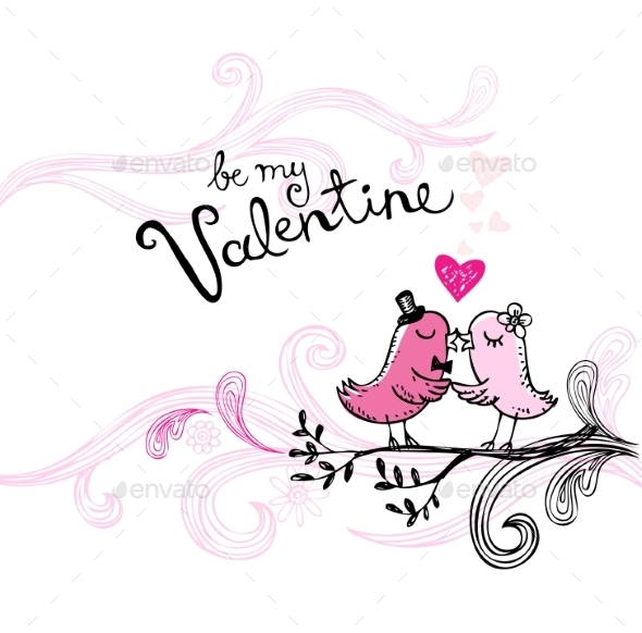 GraphicRiver Valentine s Kissing Birds 10024816