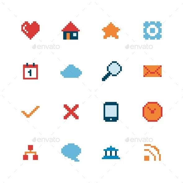GraphicRiver Pixel Web Icons Set 10008802