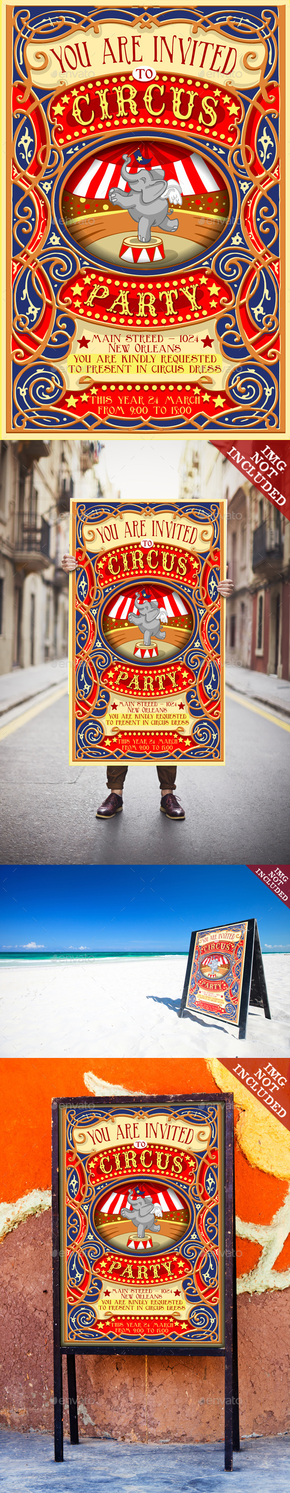 GraphicRiver Poster Invite for Circus Party with Elephant 10024833